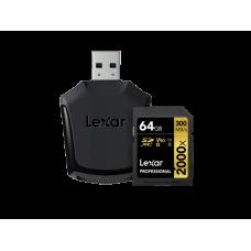 LEXAR 2000X 64GB SDHC With SD UHS-II reader